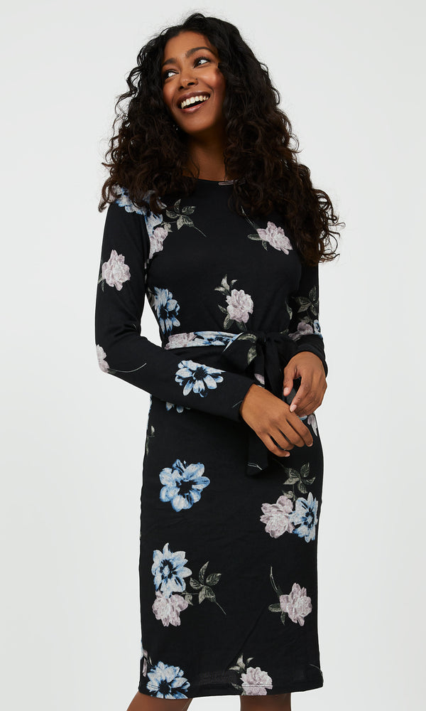 Long Sleeve Floral Sheath Dress With Sash Belt