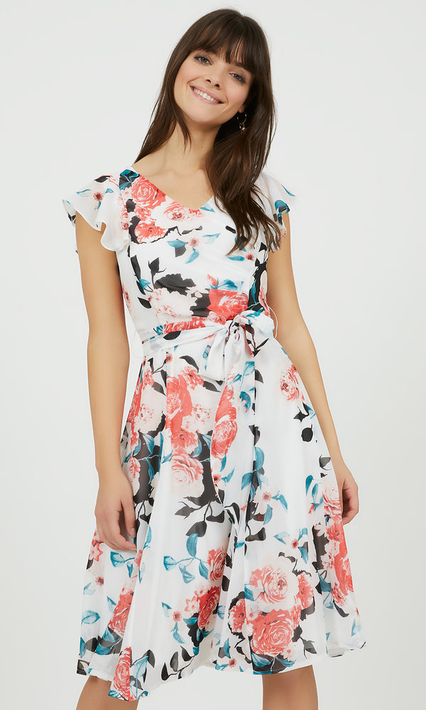 Floral Fit & Flare Flutter Sleeve Dress