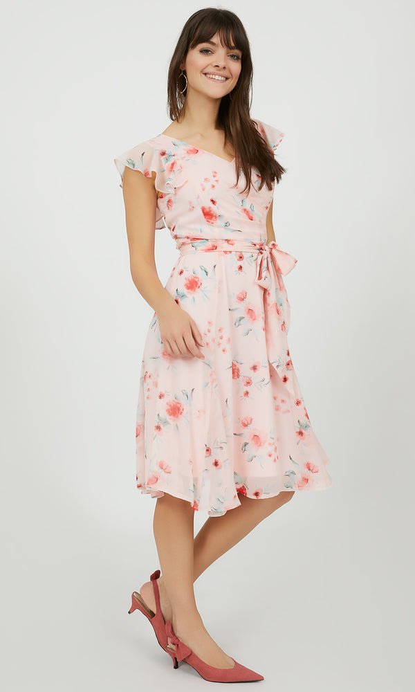 Floral Fit & Flare Flutter Sleeve Midi Dress