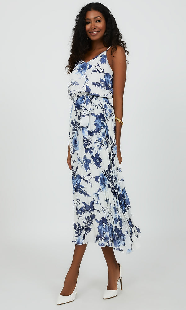 Spaghetti Strap V-Neck Floral Midi Dress