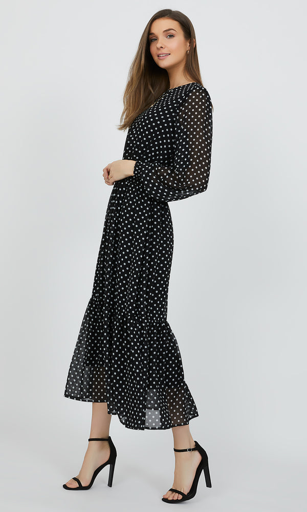 Polka Dot Boat Neck Midi Dress