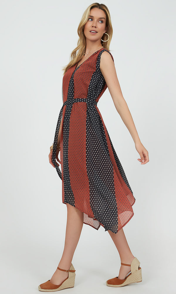 Sleeveless Patchwork Print Handkerchief Midi Dress
