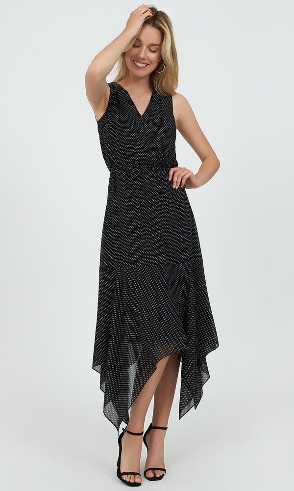 Polka Dot Handkerchief  Midi Dress