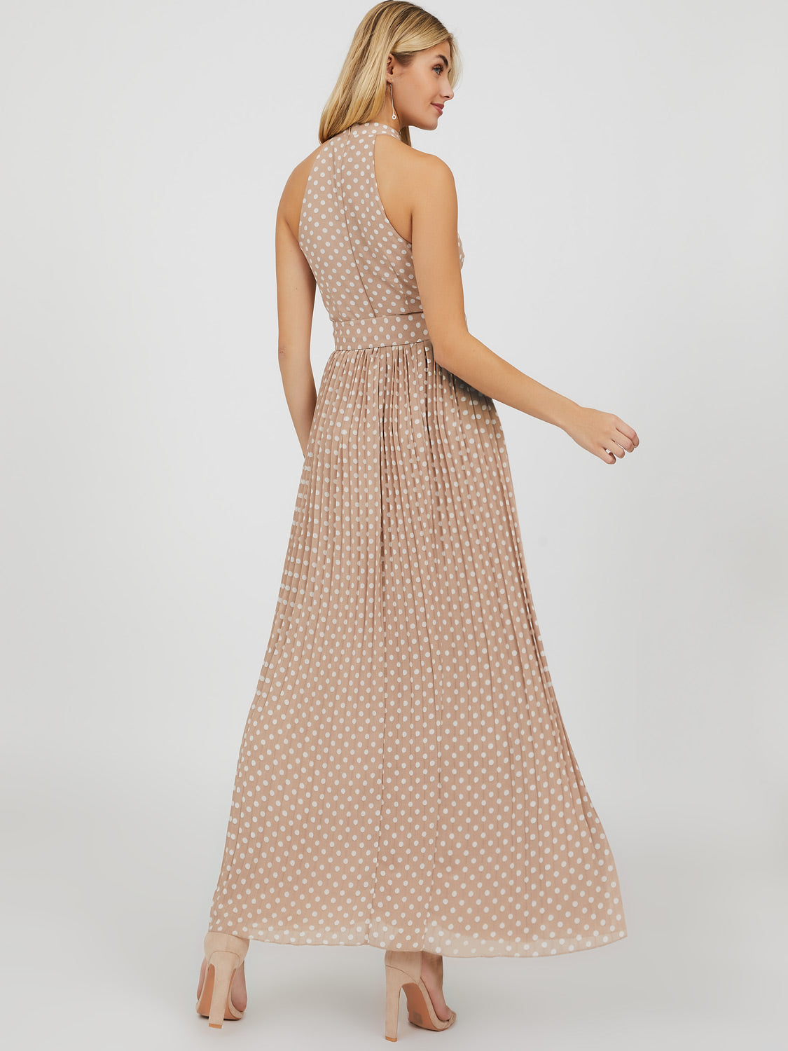 Sleeveless Halter Neck Pleated Dot Maxi Dress
