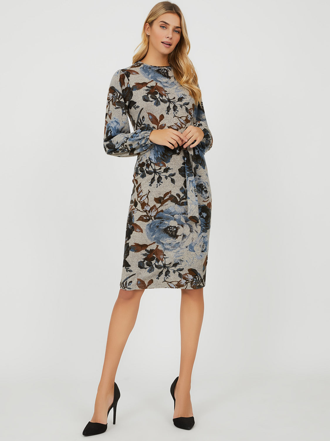 Puffy Sleeve Floral Midi Knit Dress