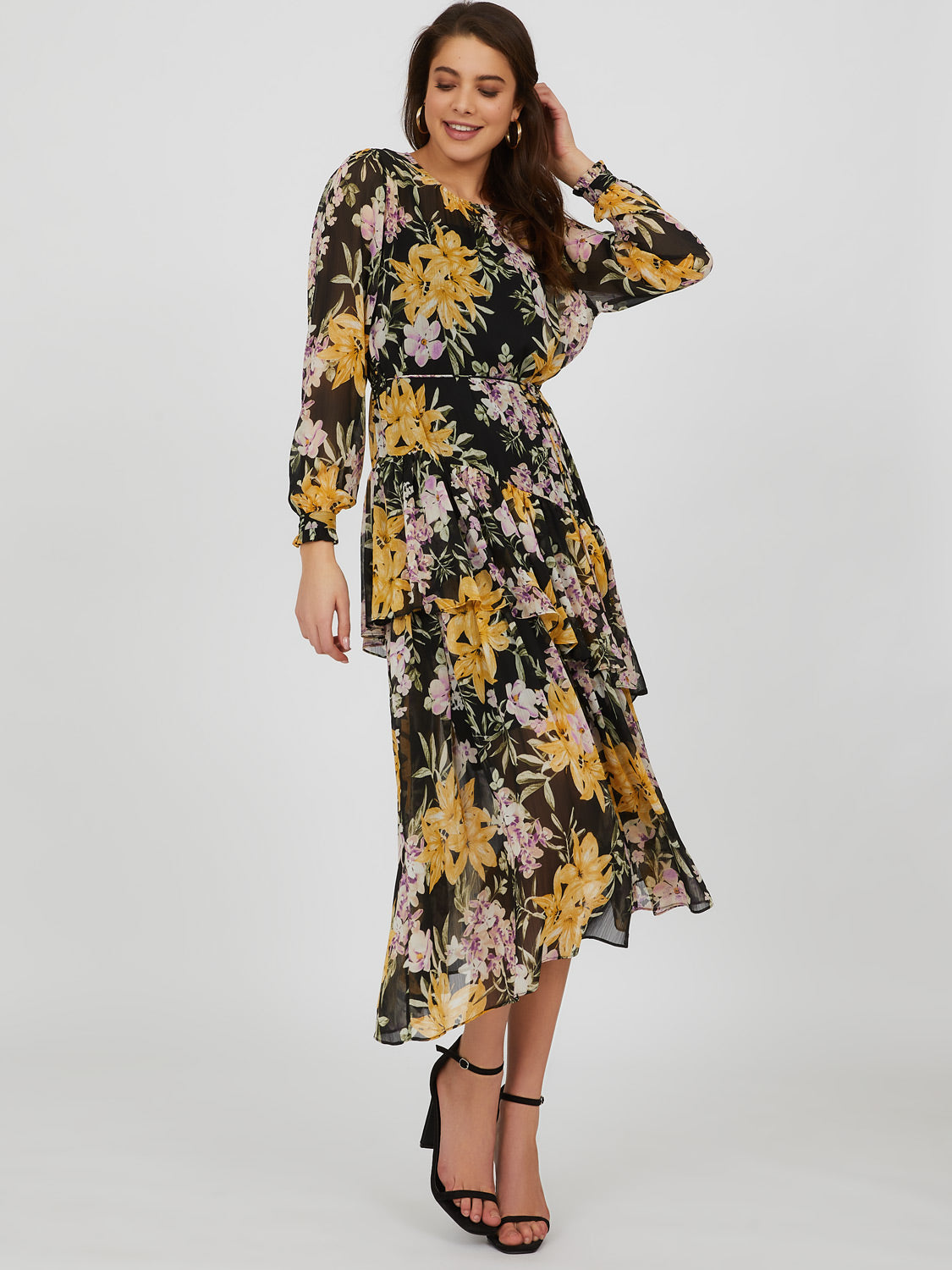 Asymmetrical Ruffle Floral Midi Dress