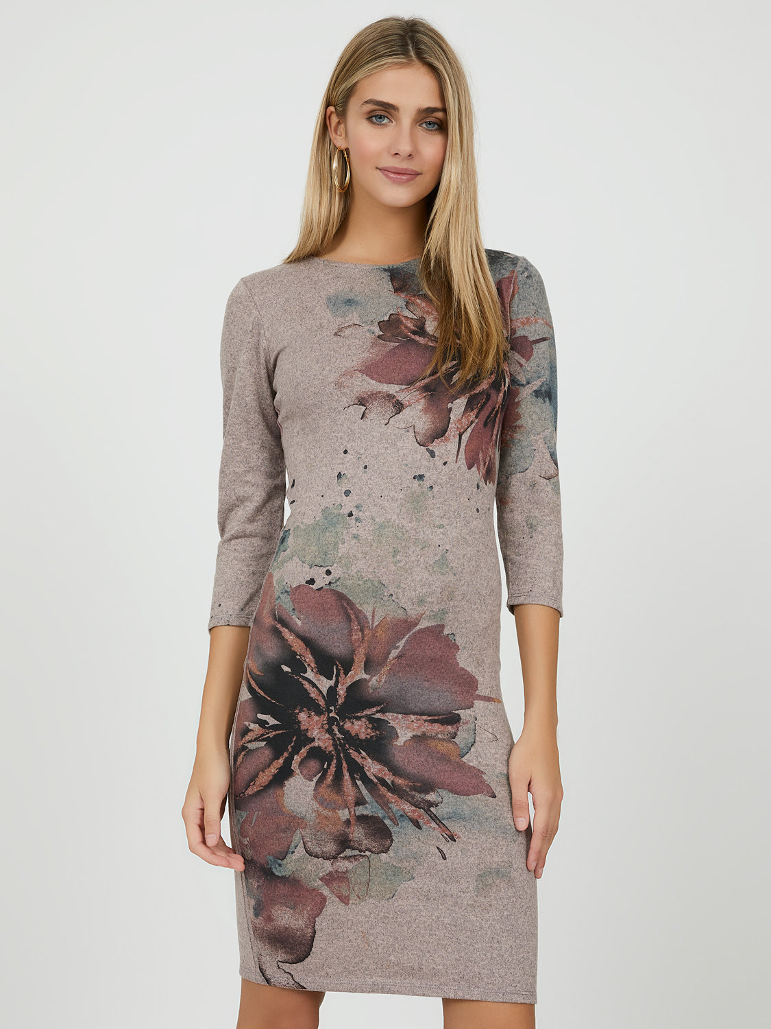 ¾ Sleeve Floral Sheath Dress