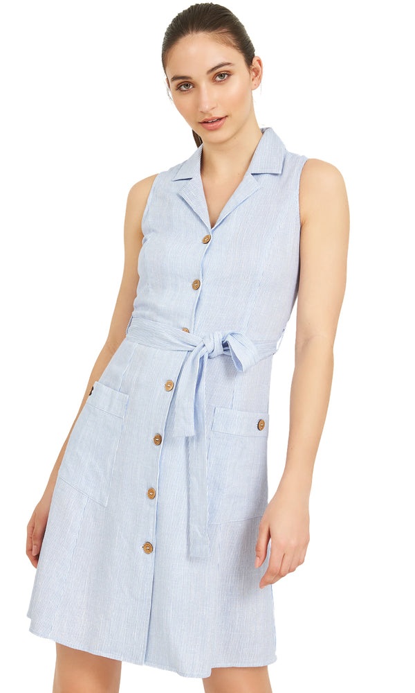 c9ff926a985 Sleeveless Buttoned Shirt Dress Sleeveless Buttoned Shirt Dress