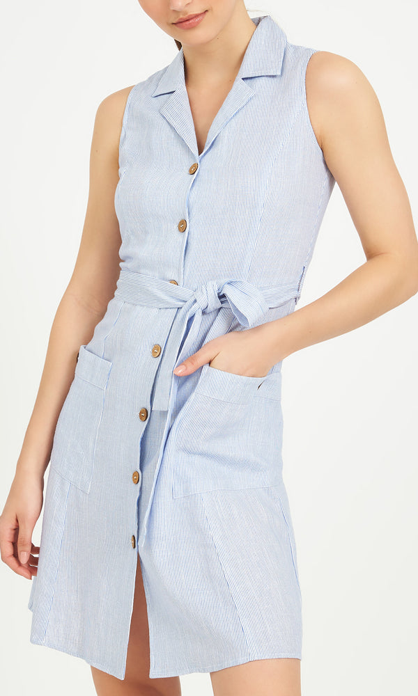 Sleeveless Buttoned Shirt Dress