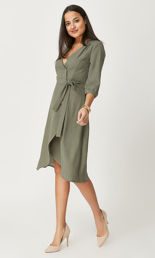Asymmetrical Button-Down Midi Dress