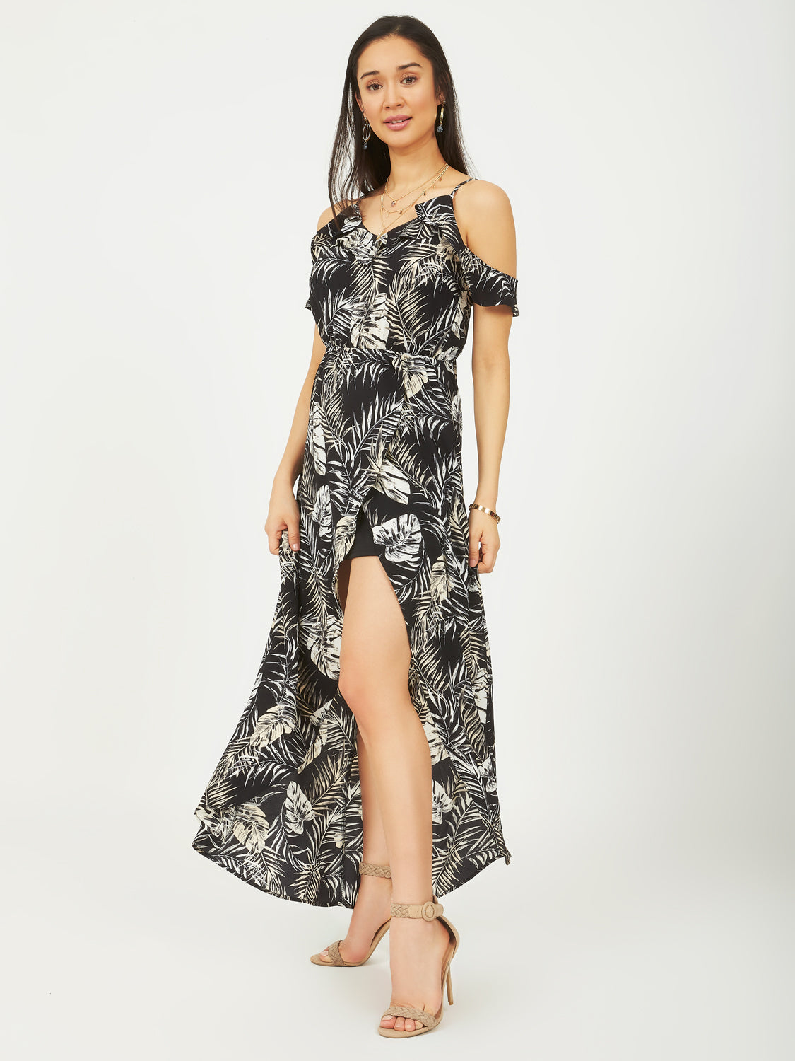 Cold-Shoulder Palm Tree Maxi Dress