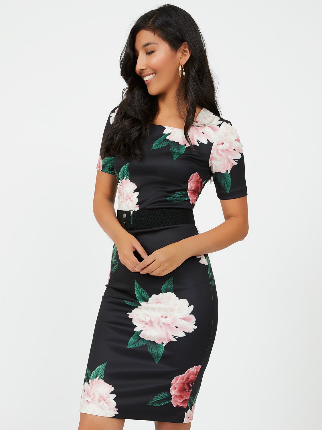 Elbow Sleeve Floral Sheath Dress