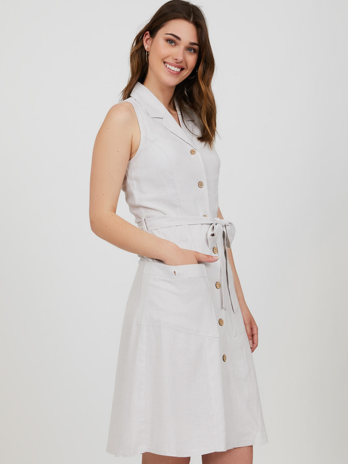 Sleeveless Button-Down Linen Blend Mini Dress