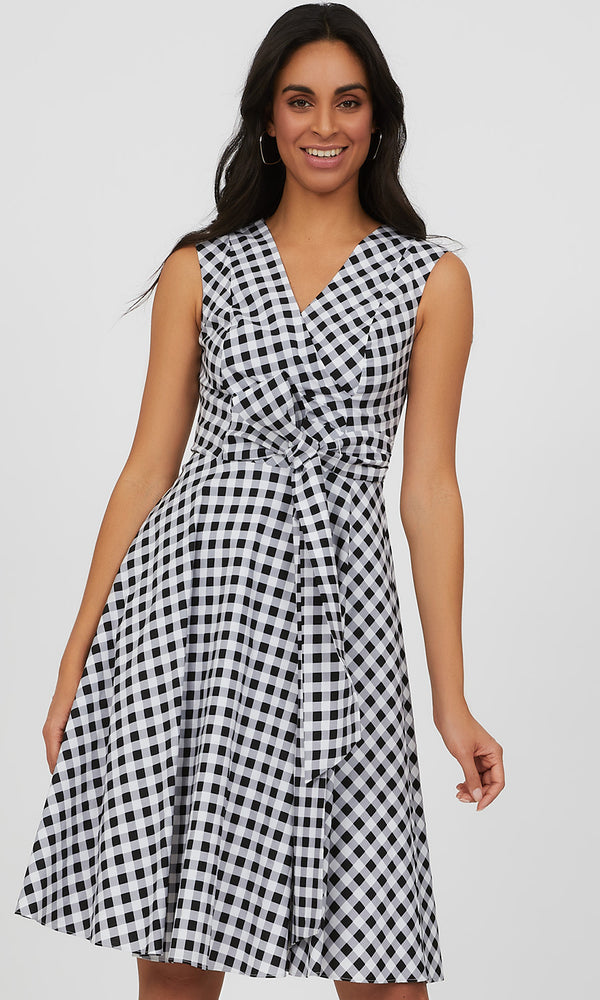 Faux Wrap Gingham Plaid Mini Dress