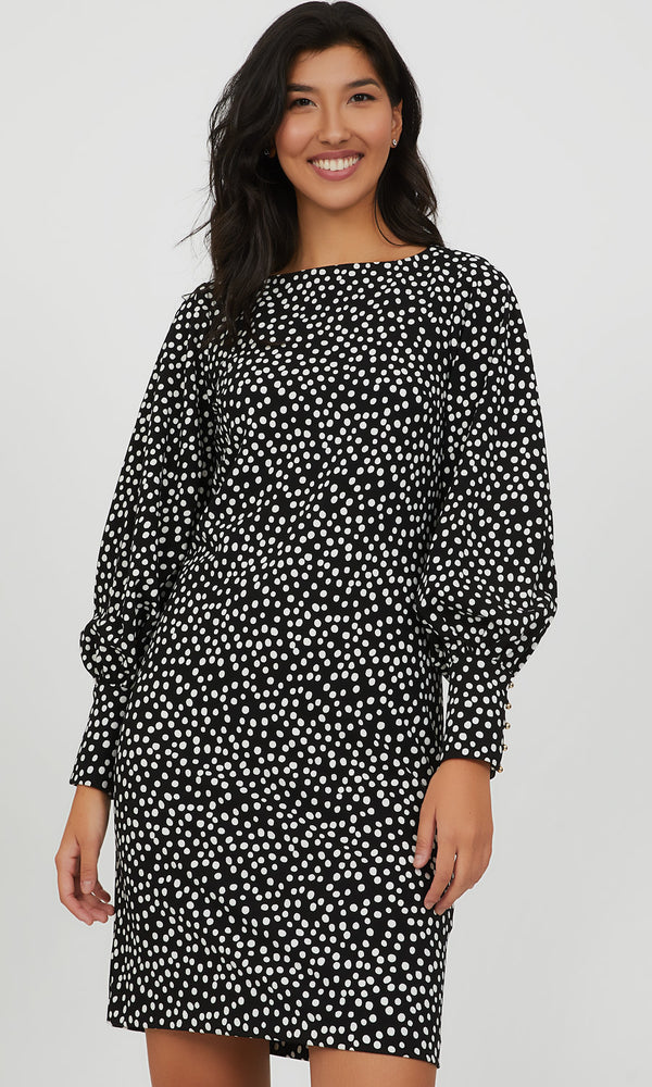 Scatter Dot Balloon Sleeve Knit Mini Dress
