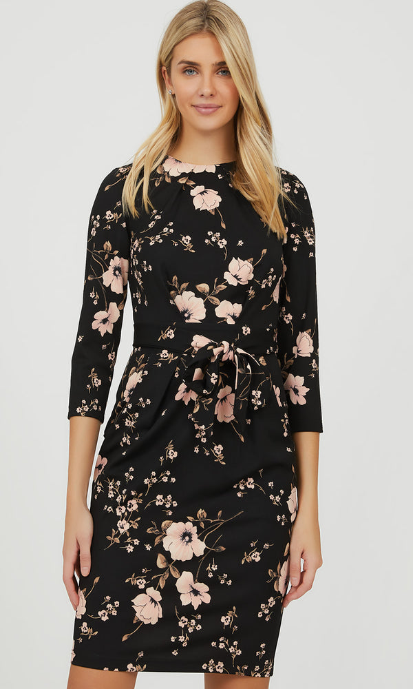 ¾ Sleeve Floral Boat Neck Mini Dress