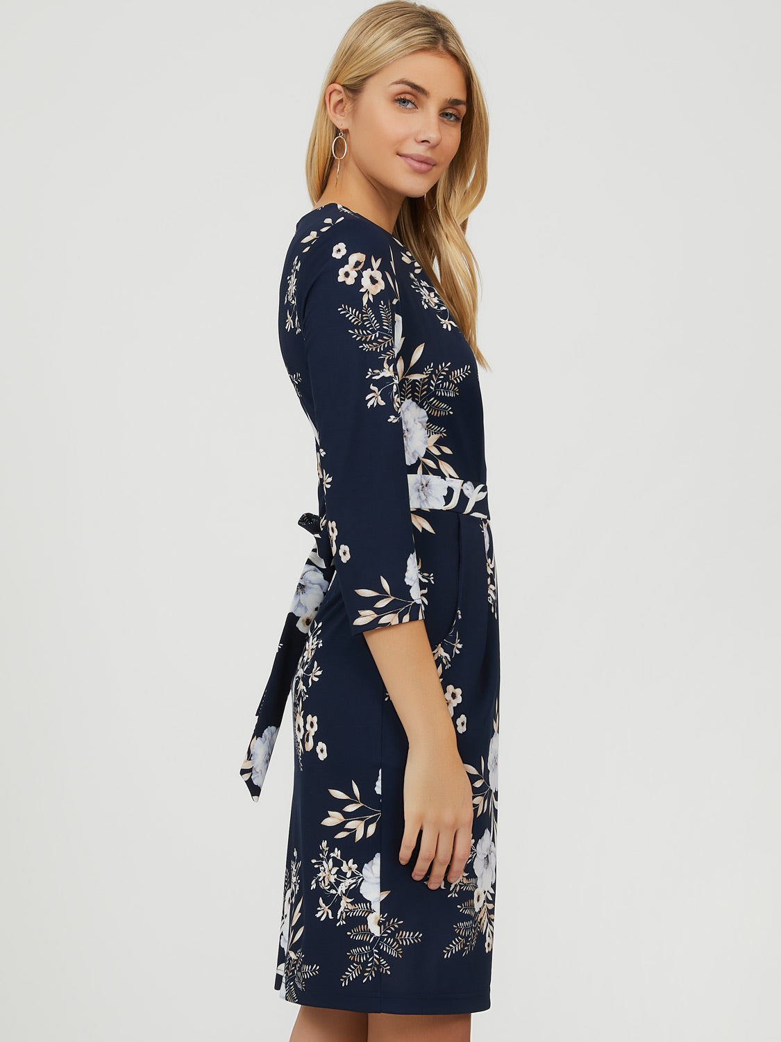 ¾ Sleeve Floral Boat Neck Midi Dress