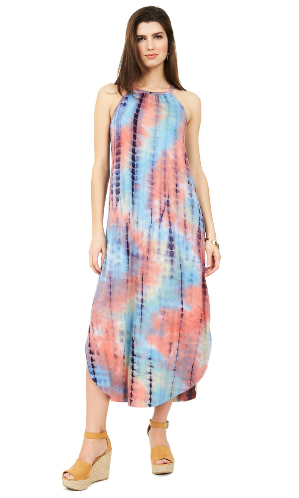 Tie-Dye Halter Neck Maxi Dress
