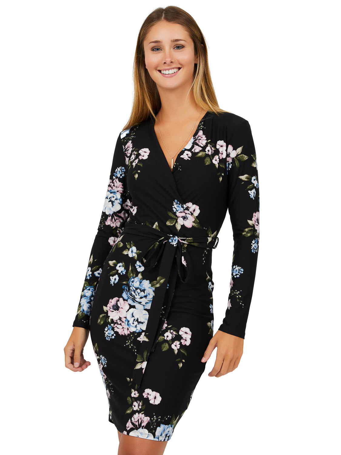 Long Sleeve Floral Wrap Mini Dress