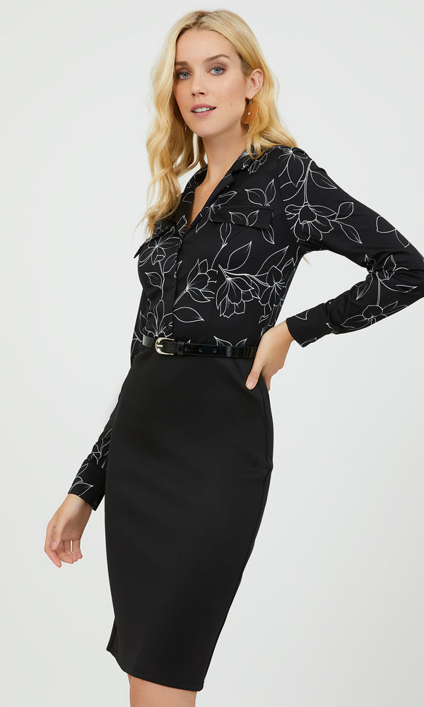 2-fer Long Sleeve Floral Dress