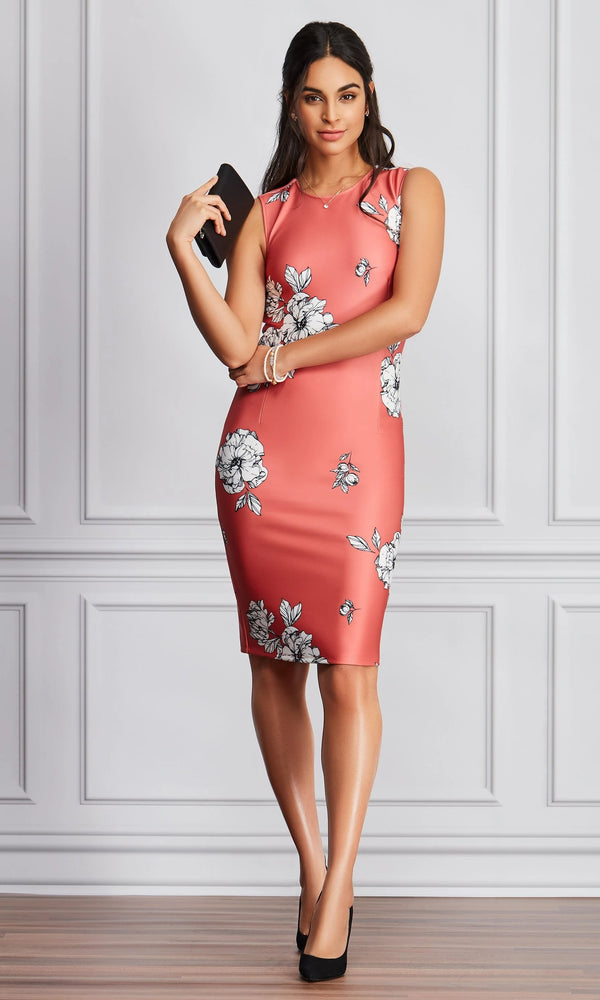 Sleeveless Floral Sheath Dress