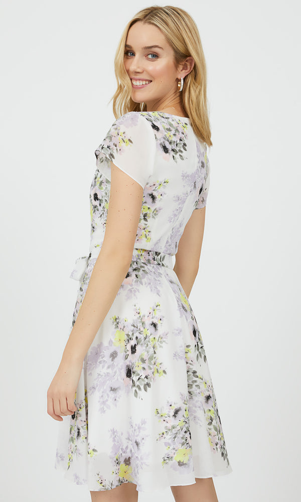 Short Sleeve Floral Fit & Flare Mini Dress