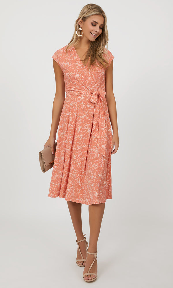 Sleeveless A-line Floral Midi Dress