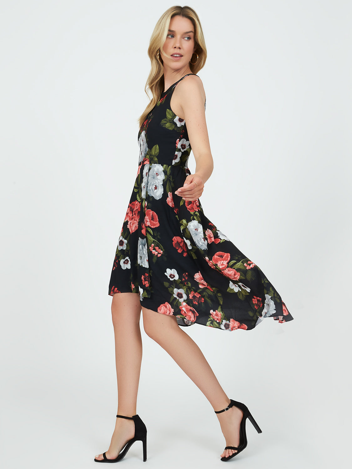 Floral Halter Neck High-Low Dress