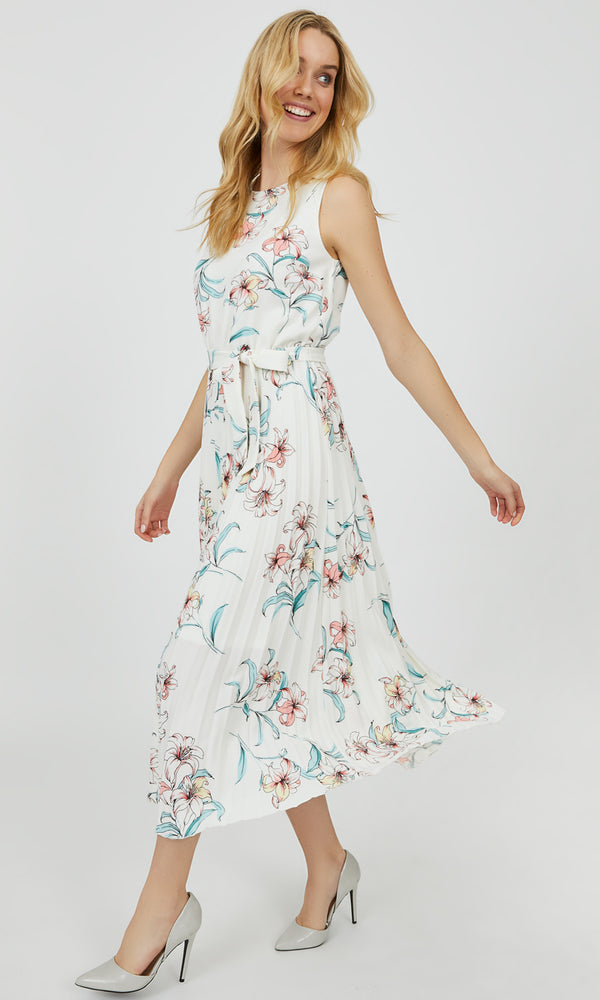 Crystal Pleated Floral Midi Dress
