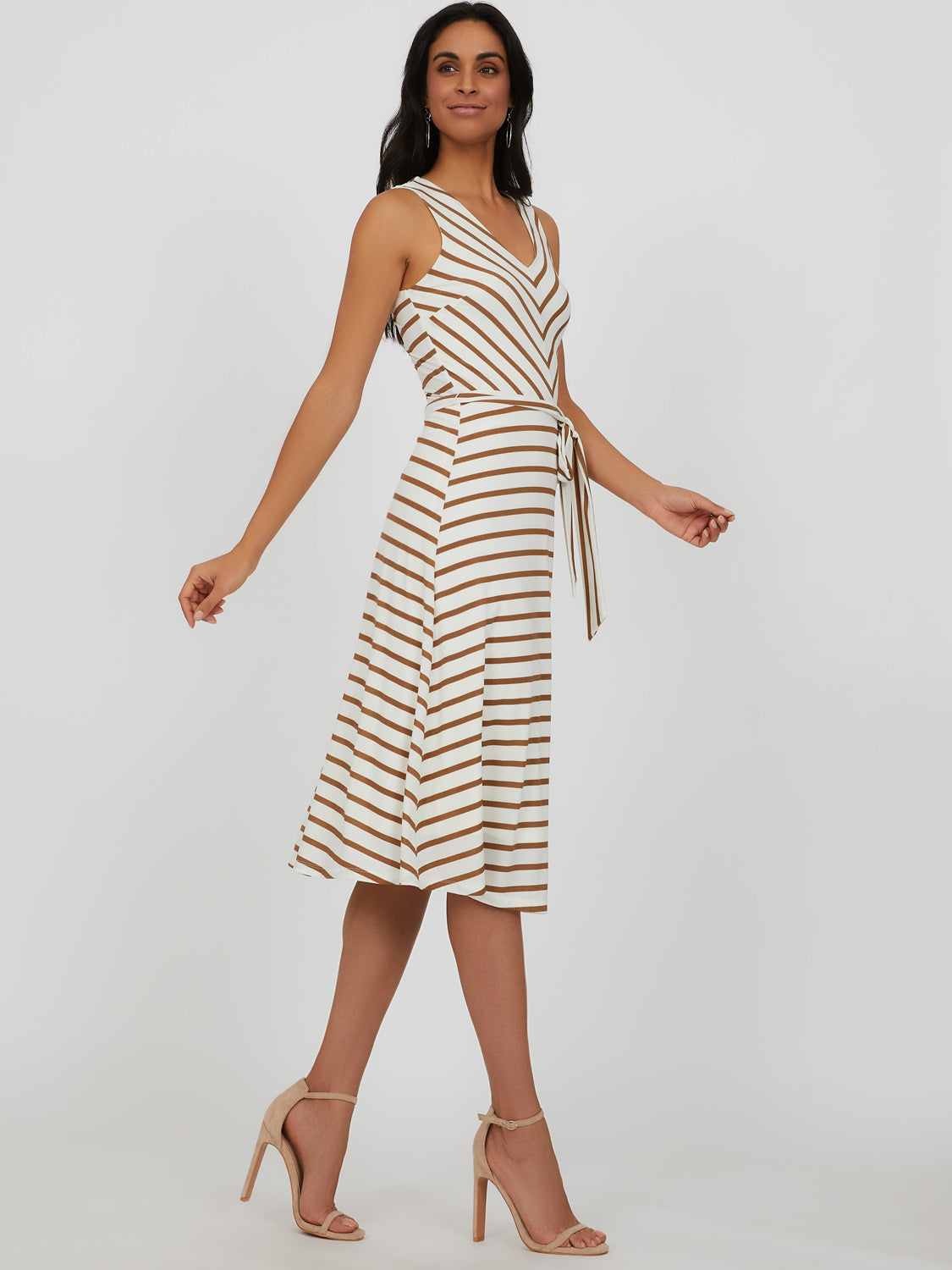 Sleeveless Tie-Belt Mitered Stripe Midi Dress