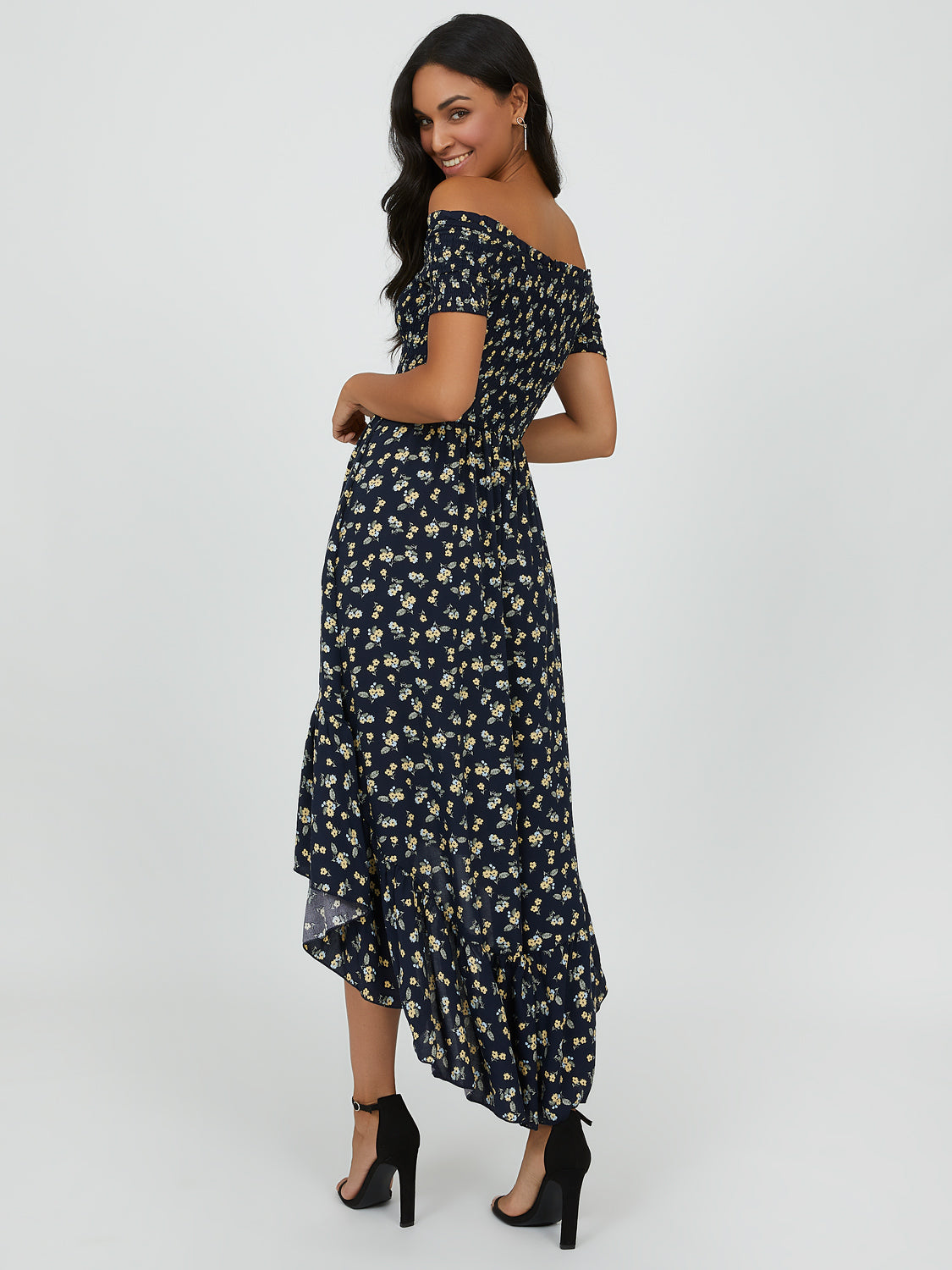 Smocked Off-the-Shoulder High-Low Midi Dress