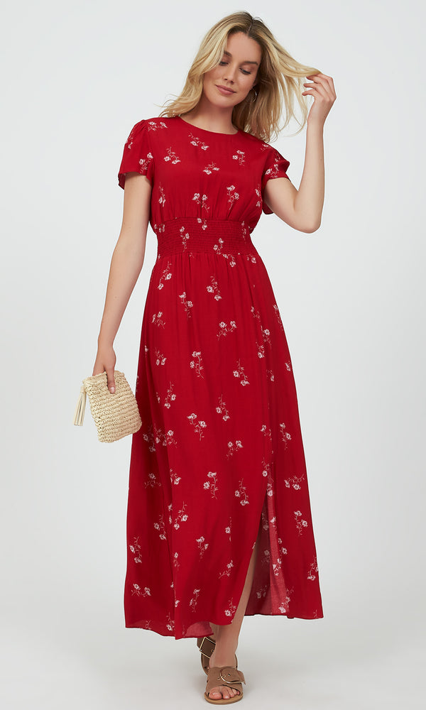 Ditsy Floral Smocked Waist Maxi Dress