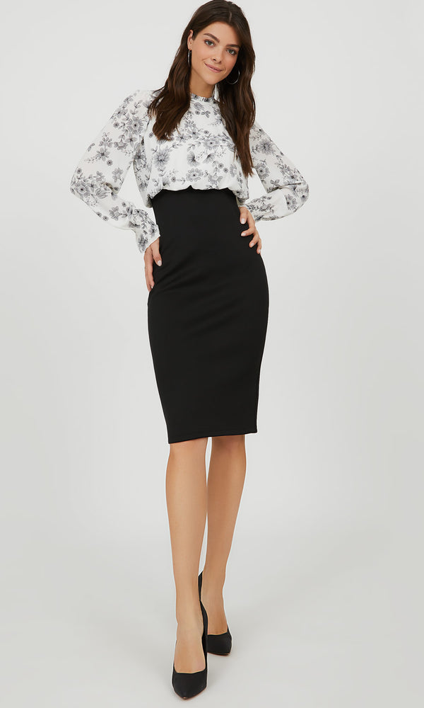 Balloon Sleeve 2fer Floral Midi Dress