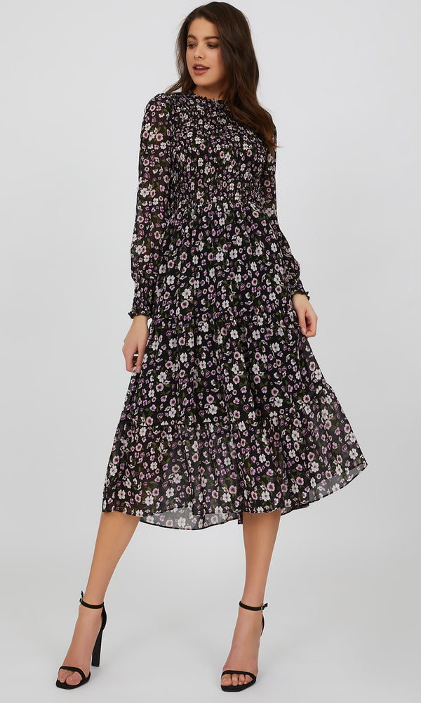 Pie Crust Neck Ditsy Floral Midi Dress