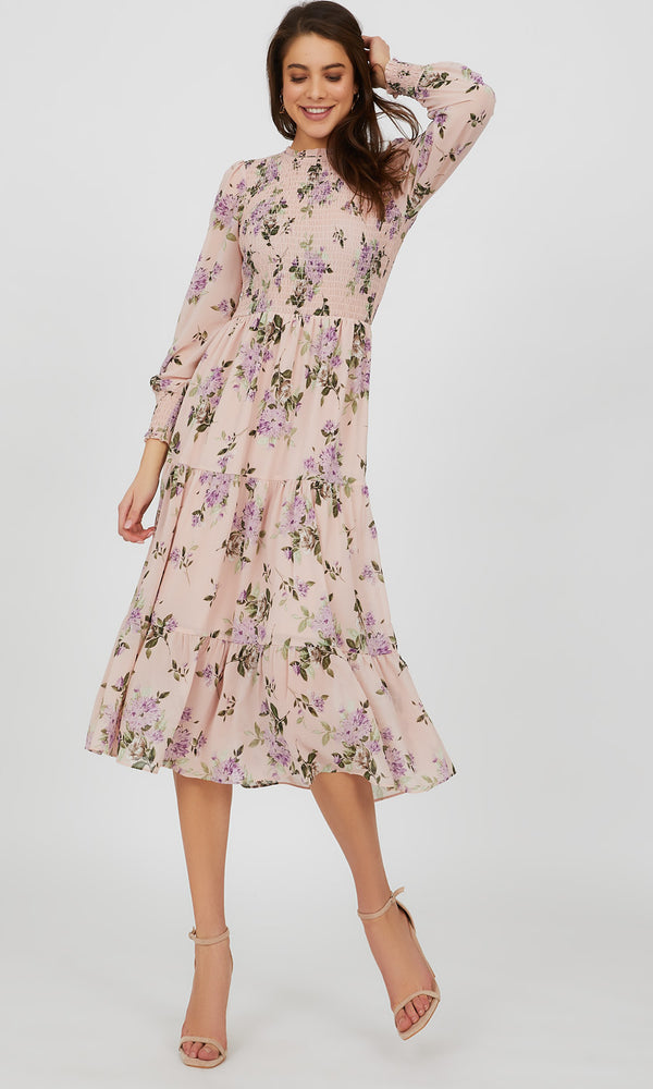 Pie Crust Neck Floral Midi Dress