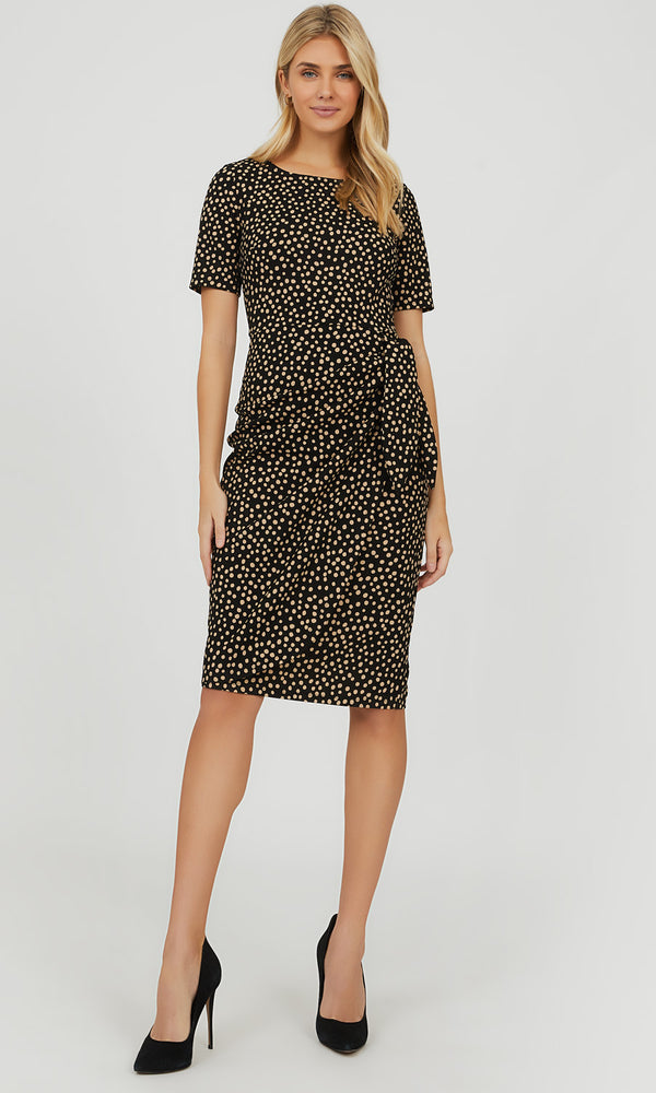 Sarong Tie Scatter Dot Midi Dress