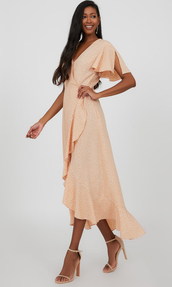 Flutter Sleeve Challis Wrap Maxi Dress