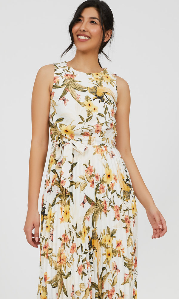 Sleeveless Crystal Pleat Floral Midi Dress