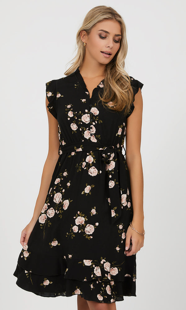 Ruffle Fit & Flare Floral Mini Dress