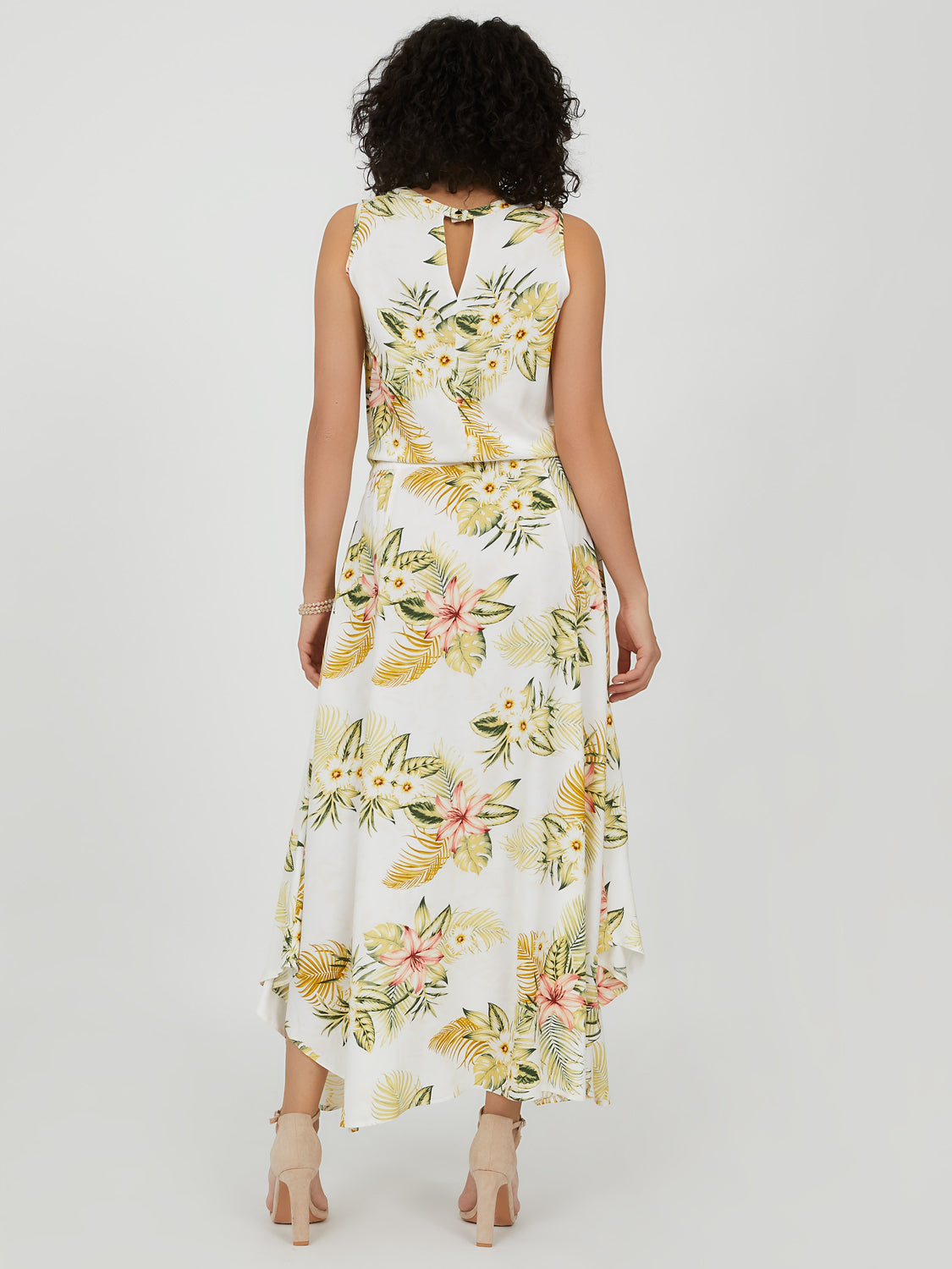 Sleeveless Tropical Print Maxi Dress