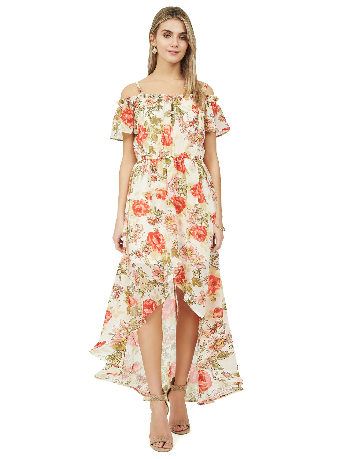 981c9fc68c921 Printed Chiffon Cold-Shoulder Dress