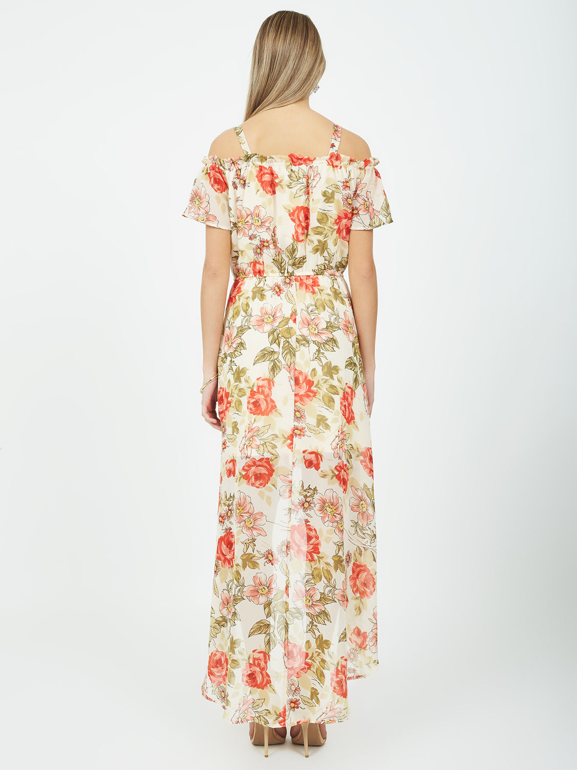 Printed Chiffon Cold-Shoulder Dress