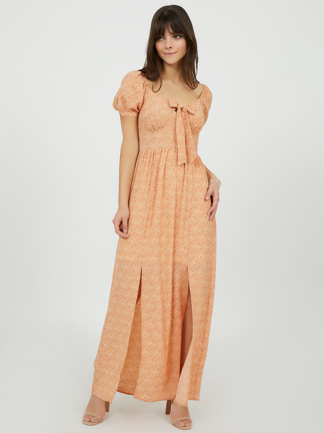 Bow Front Sweetheart Maxi Dress