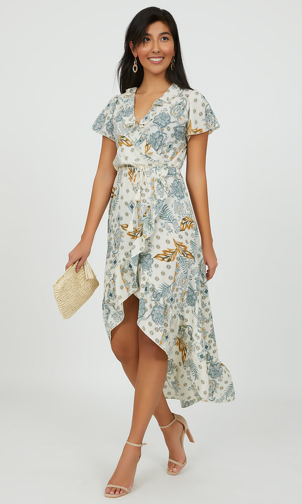 Crossover Paisley Wrap Dress