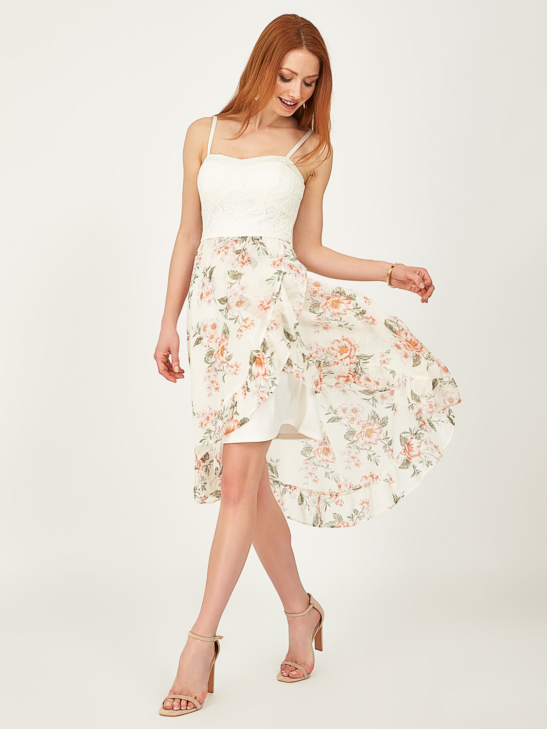 Floral Lace Chiffon Dress