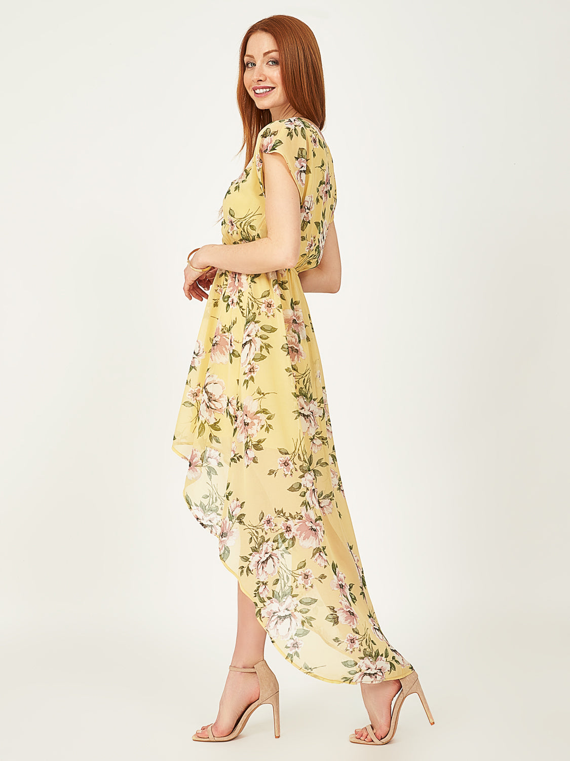 Knotted High-Low Floral Dress