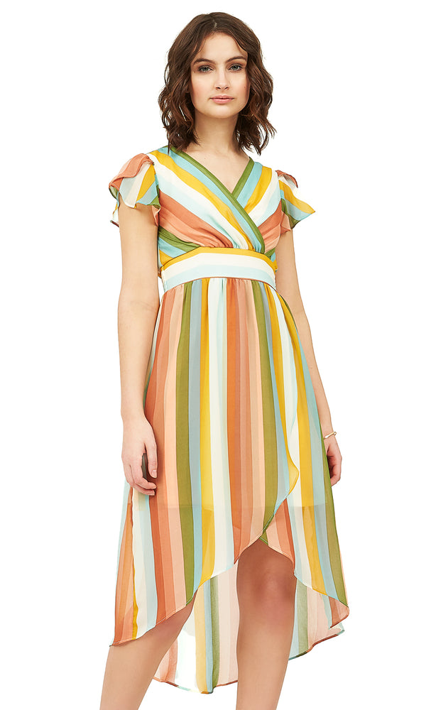 Multi-Stripe Chiffon Dress