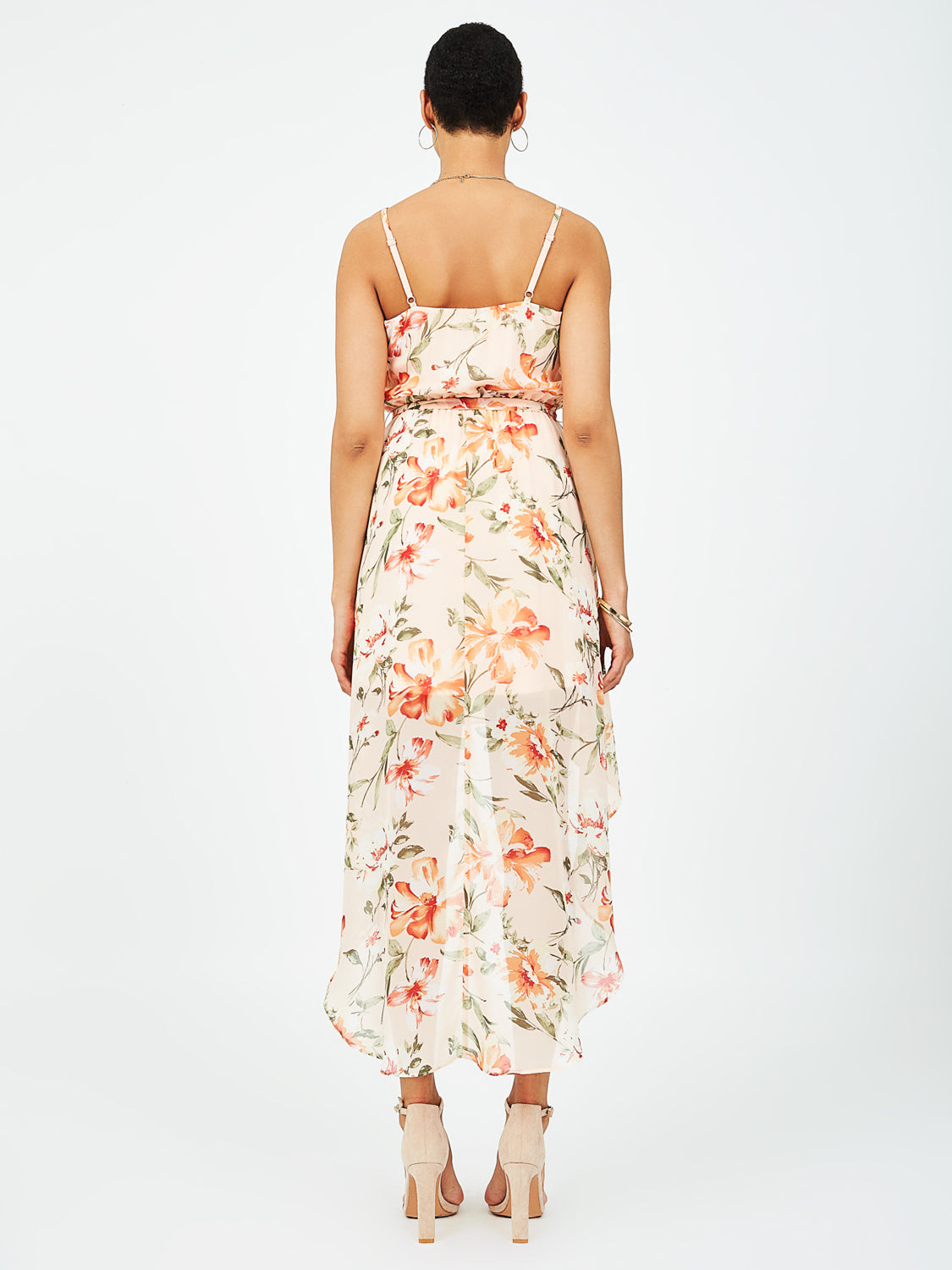 High-Low Chiffon Floral Dress