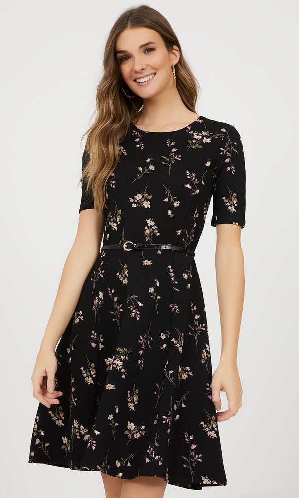 Floral Knit Fit & Flare Dress
