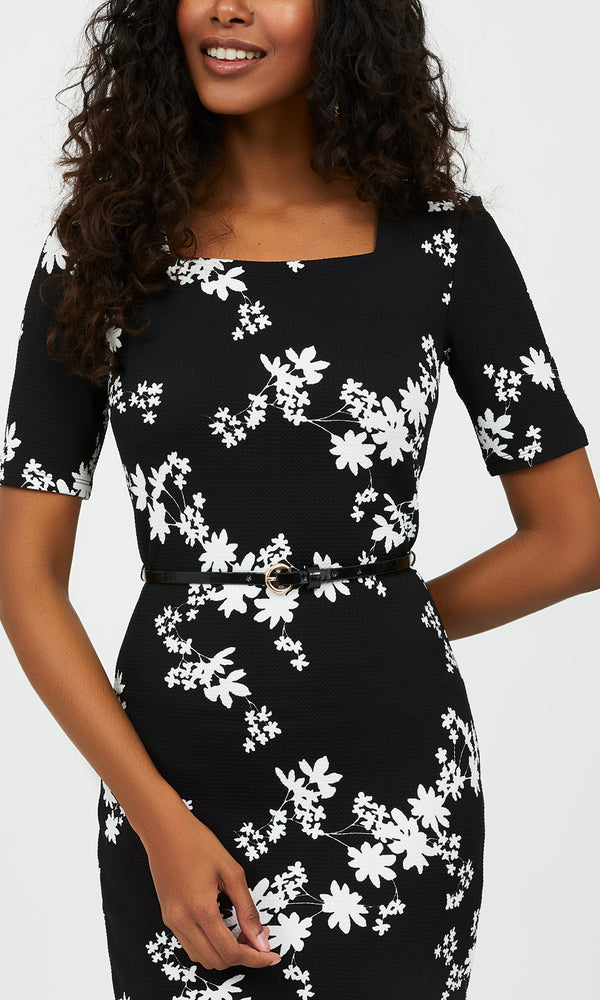 Elbow Sleeve Floral Sheath Mini Dress